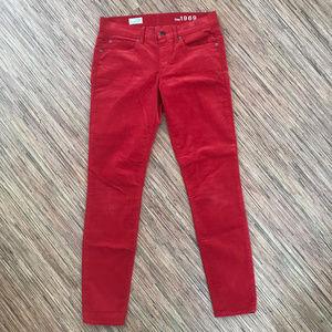 GAP 1969 Red Courdoroy Legging Jeans 27 4 EUC